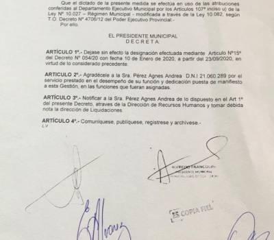 INDIGANACION EN EL CAMPO POPULAR Y NACIONAL: Amadeo Cresto echó a Agnes Perez.